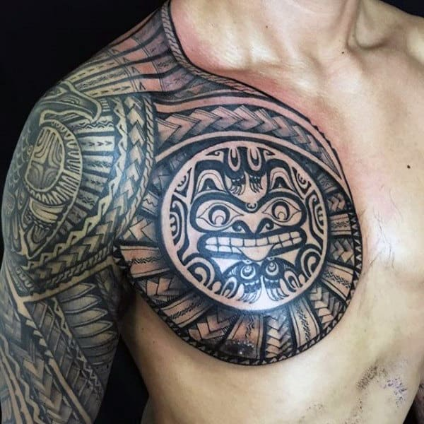 Unique Male Shoulder Hawaiian Tribal Tattoo Ideas