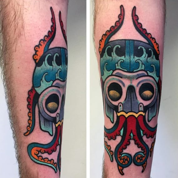 Unique Male Traditional Octopus Tattoo On Forearm