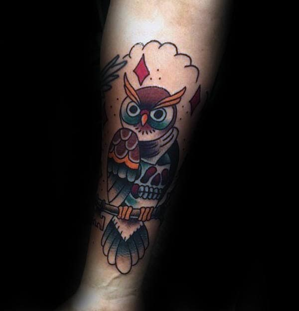 Unique Male Traditional Owl And Skull Inner Forearm Tattoos