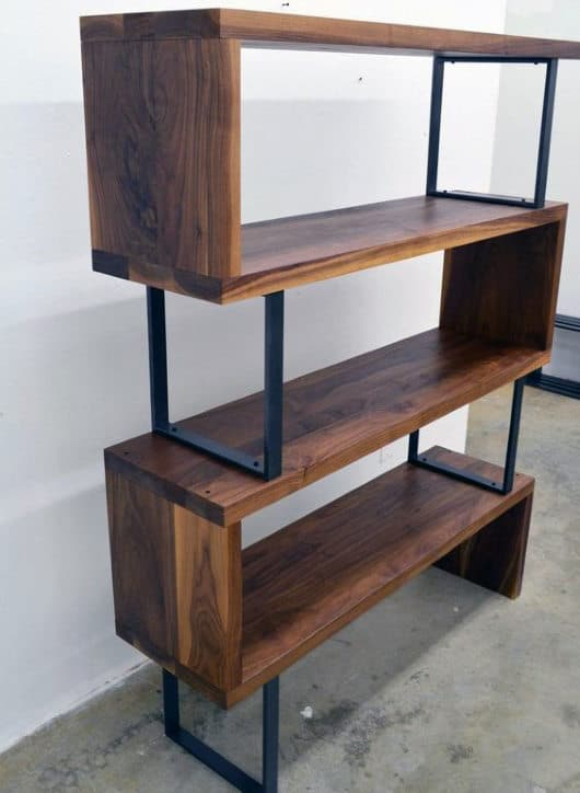 Unique Man Cave Decor Wood And Metal Bookcase