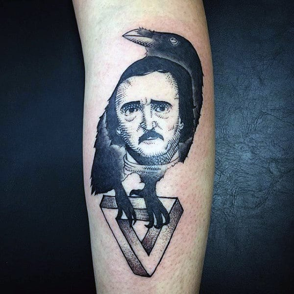 Unique Mans Face In Raven Tattoo On Forearms Males
