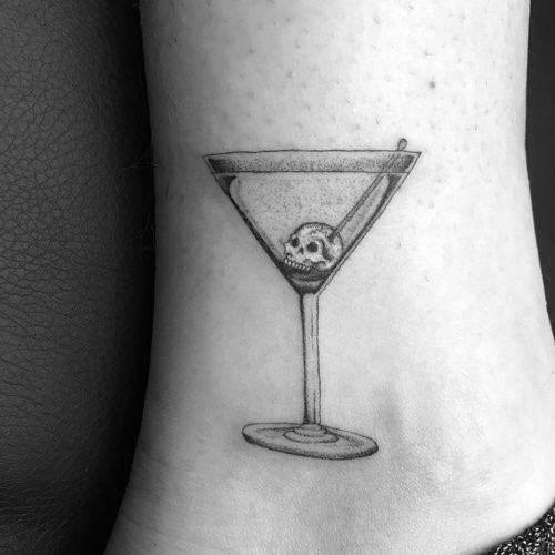 Unique Martini Glass Tattoos For Men