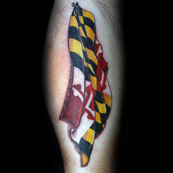 Unique Maryland Flag Tattoos For Men