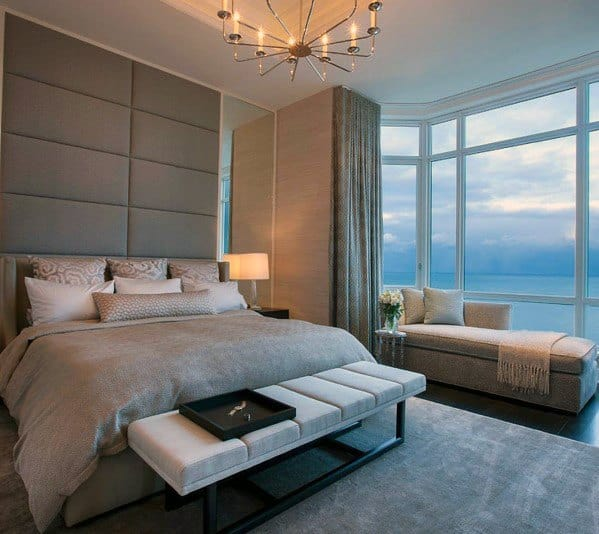 Unique Master Bedrooms With Fabric Headboard