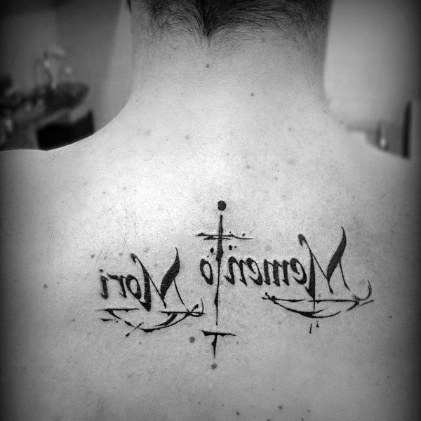 Unique Memento Mori Guys Words Back Tattoo