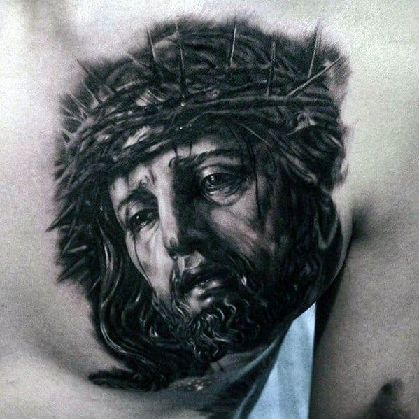 Unique Mens 3d Jesus Tattoos On Chest