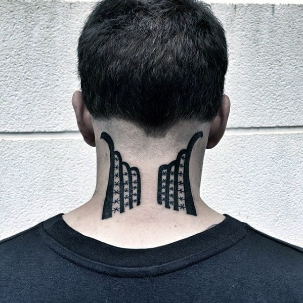 Unique Mens Abstract Back Of Neck Small Tattoos