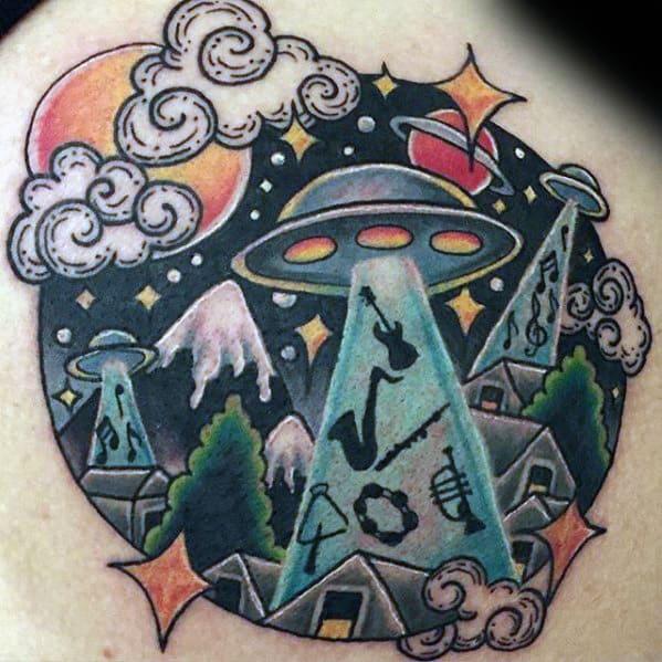 Unique Mens Alien Abudction Saxophone Upper Back Tattoo