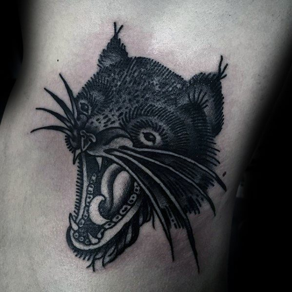 Unique Mens Animal Rib Cage Side Tasmanian Devil Tattoos