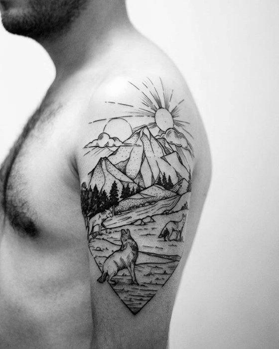 Unique Mens Arm Coyote Tattoos