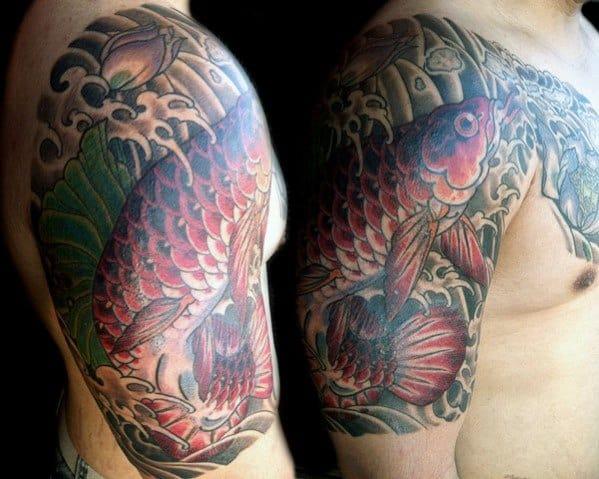 Unique Mens Arowana Tattoos Half Sleeve