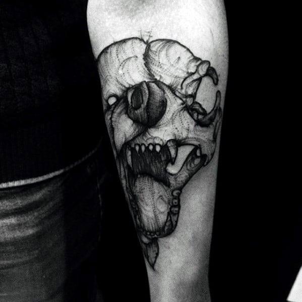 Unique Mens Artistic Bear Skull Inner Forearm Tattoo