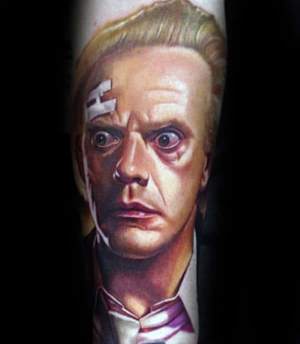 Unique Mens Back To The Future Doc Brown Portrait Inner Forearm Tattoo