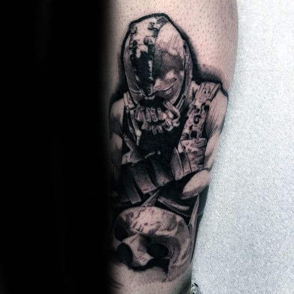 Unique Mens Bane Dc Comics Superhero Tattoo Ideas On Leg