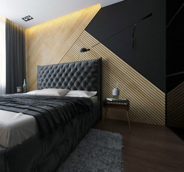 Unique Mens Bedroom Modern Black Painted And Wood Wall Designs