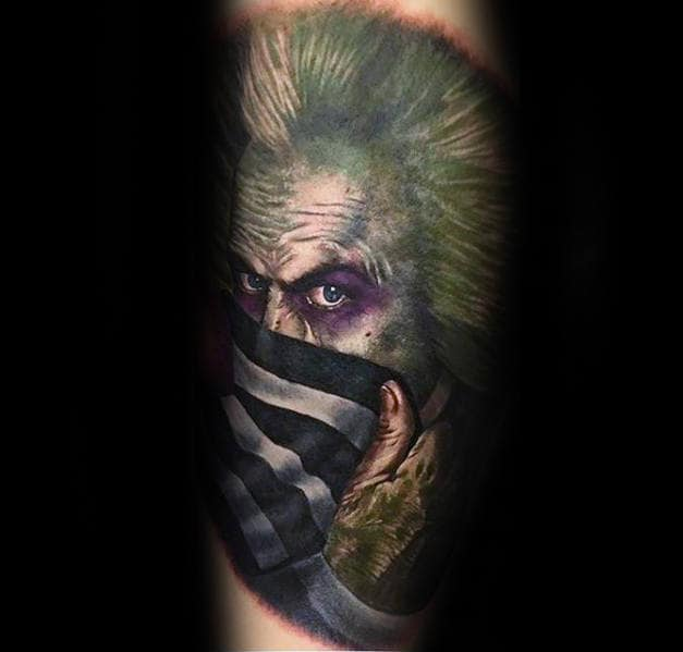 Unique Mens Beetlejuice Portrait Sleeve Tattoo Designs