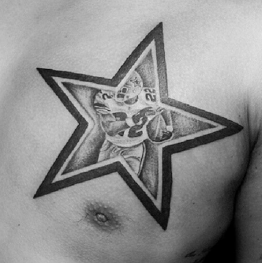 Unique Mens Black Ink Dallas Cowboys Upper Chest Star Tattoo