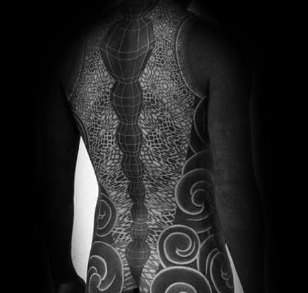 Unique Mens Blackout Sleeve And Back Tattoos