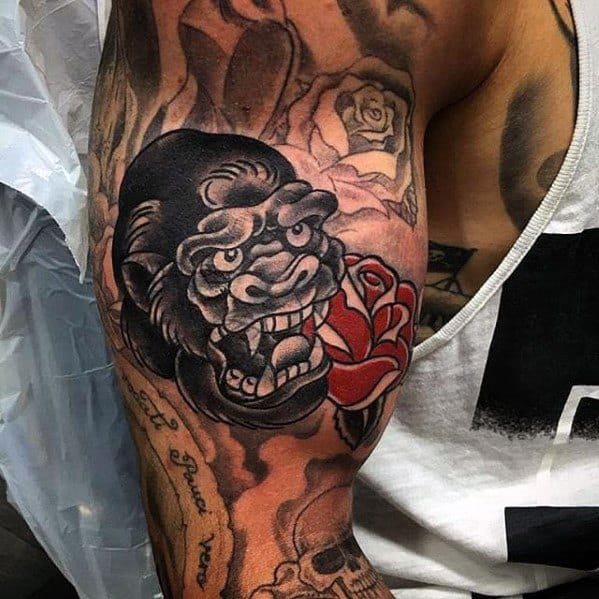 Unique Mens Blast Over Groilla Head With Red Rose Flower Arm Tattoos