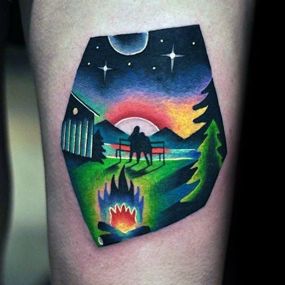 Unique Mens Campfire Tattoos