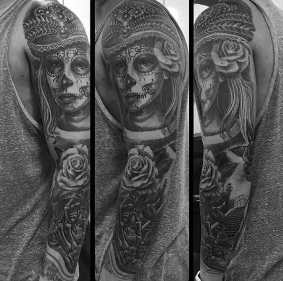 Unique Mens Catrina Tattoos