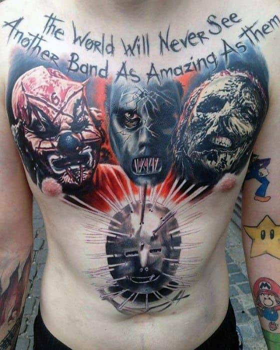 Unique Mens Chest Slipknot Tattoos
