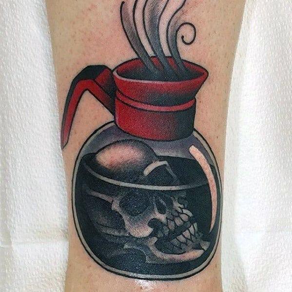 Unique Mens Coffee Mug Skul Traditional Old School Forearm Tattoos