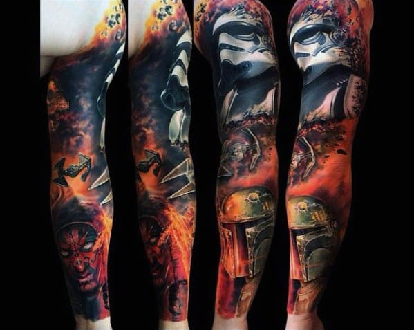 Unique Mens Darth Maul Tattoos Full Arm Sleeve