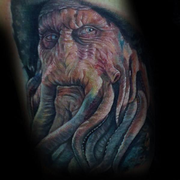 Unique Mens Davy Jones Tattoos On Arm