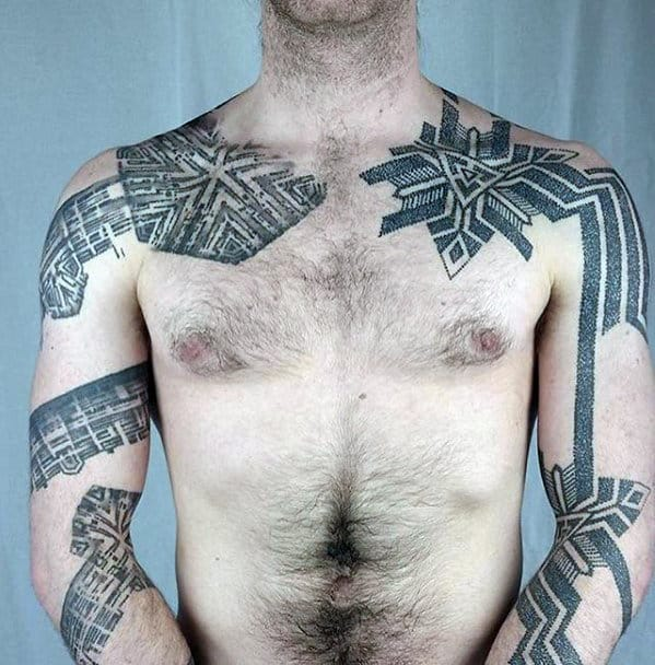 Unique Mens Different Artistic Dotwork Arm And Shoulder Tattoos