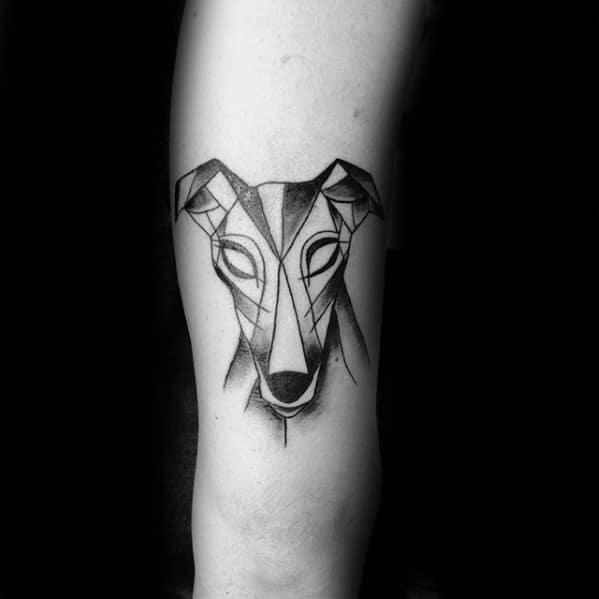 Unique Mens Dog Geometric Greyhound Tattoos