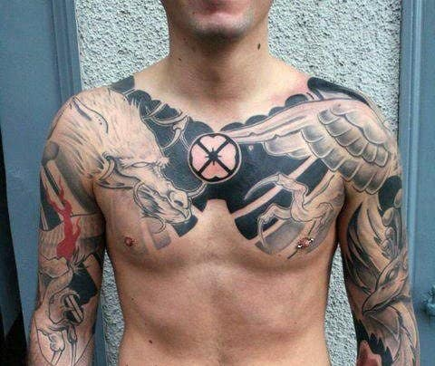 Unique Mens Dragon Cover Up Shaded Chest Tattoos