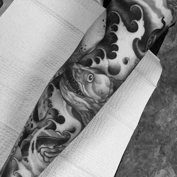 Unique Mens Eel Ocean Waves Arm Sleeve Tattoos