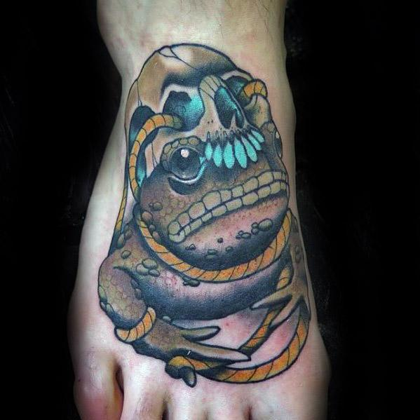 Unique Mens Foot Skull And Toad Tattoos