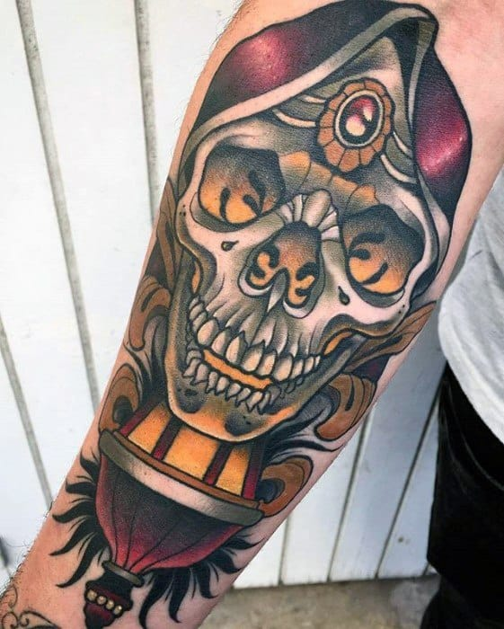 Unique Mens Forearm Skull Lantern Tattoos