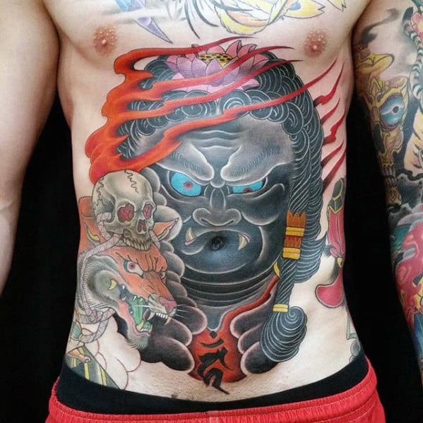 Unique Mens Fudo Myoo Tattoos On Stomach
