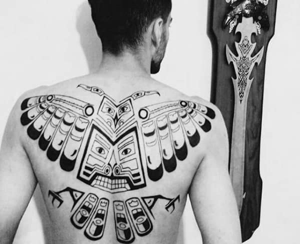 Unique Mens Full Back Tribal Owl Tattoos