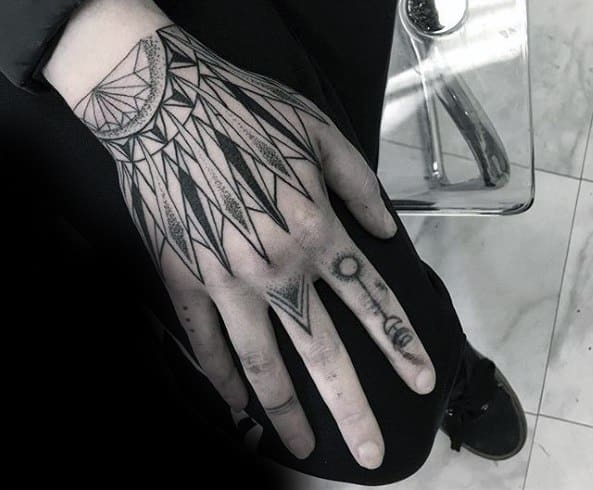 Unique Mens Geometric Hand Tattoos