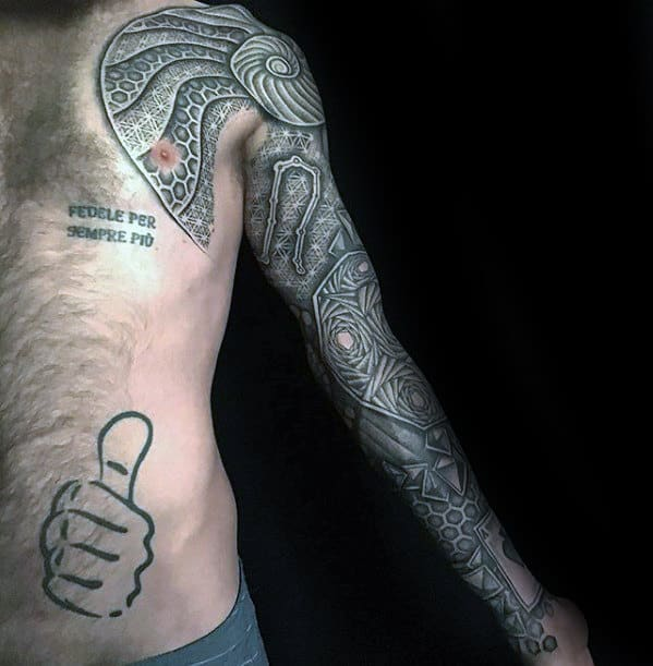 Unique Mens Geometric Pattern 3d Sleeve Tattoo Design Ideas