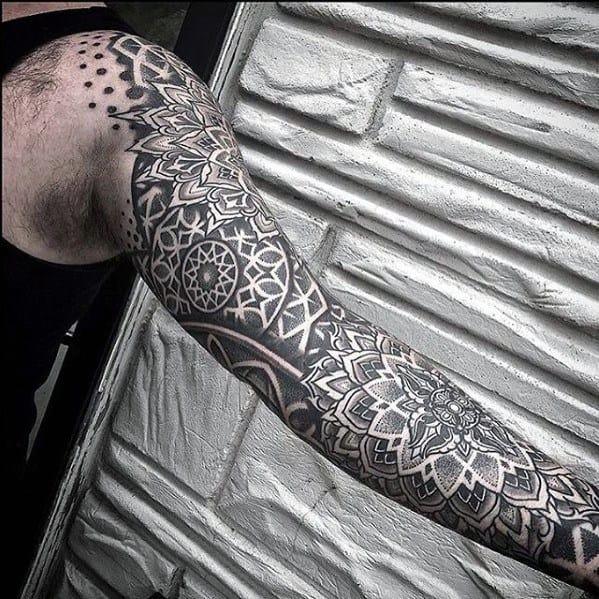 Unique Mens Geometric Sleeve Tattoos