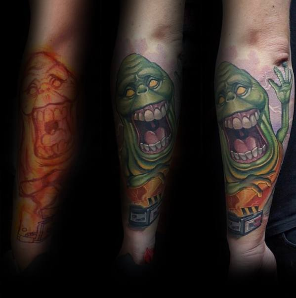Unique Mens Ghostbusters Tattoos On Outer Forearms