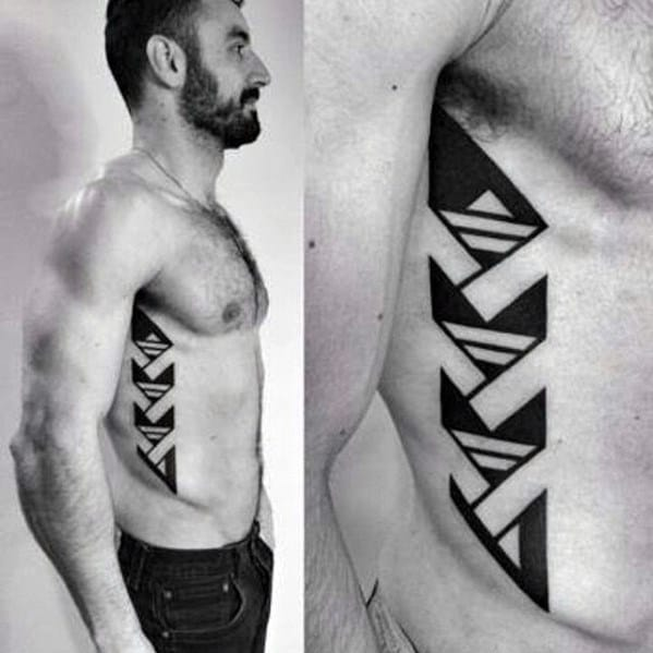 Unique Mens Great Tattoos On Rib Cage Side Of Body With Blackwork Geometric Design