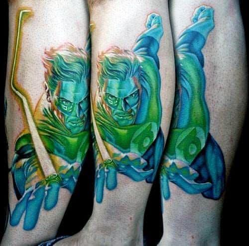 Unique Mens Green Lantern Side Of Leg Tattoos