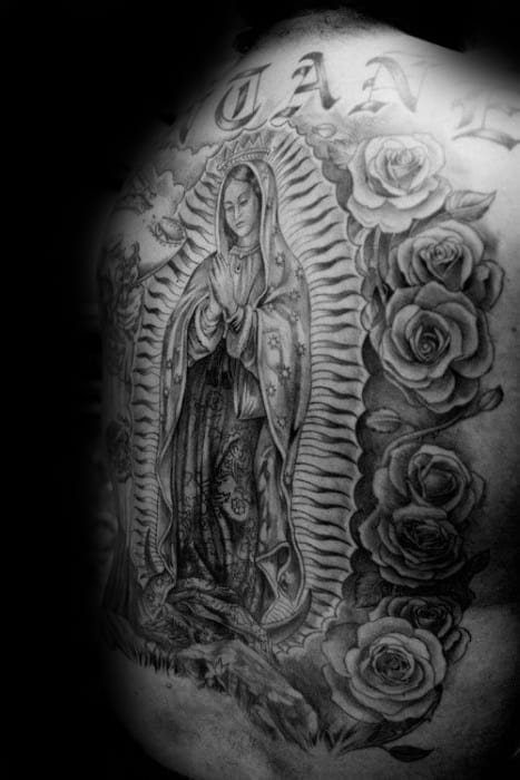 Unique Mens Guadalupe Tattoos Full Back With Rose Flower Design