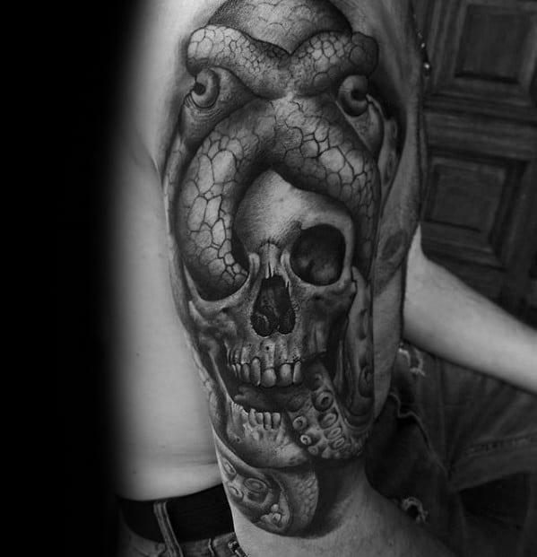 Unique Mens Half Sleeve Octopus Skull Tattoos