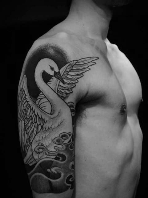 Unique Mens Half Sleeve Swan Tattoos