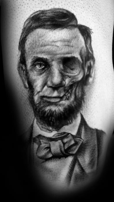Unique Mens Half Zombie Half Abraham Lincoln Arm Tattoos