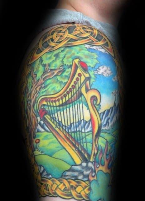 Unique Mens Harp Tattoos Colorful Half Sleeve