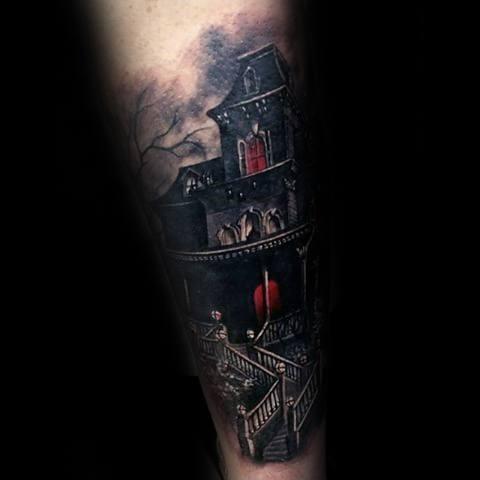 Unique Mens Haunted House Tattoos