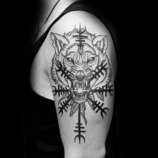 Unique Mens Helm Of Awe With Wolf Arm Tattoos